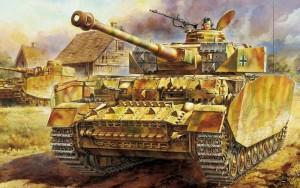 Германские танки Панцер-IV врываются в село
