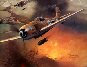 Германские истребители Фокке-Вульф-190 атакуют аэродром союзников. 1945 г.